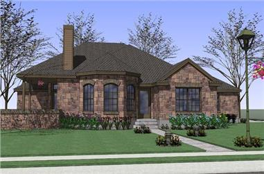 Front elevation of Ranch home (ThePlanCollection: House Plan #117-1047)
