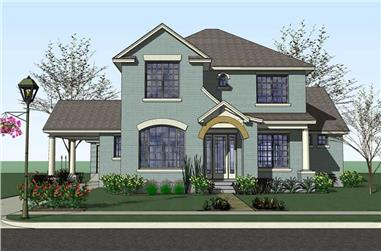 4-Bedroom, 3497 Sq Ft Traditional Home Plan - 117-1051 - Main Exterior