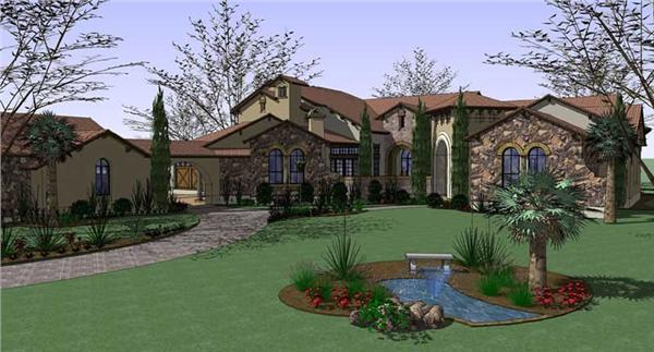 Luxury House Plans 117-1053 color rendering.