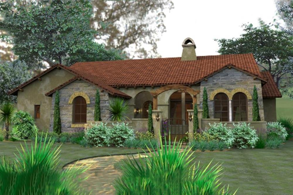Front elevation of Tuscan home (ThePlanCollection: House Plan #117-1055)