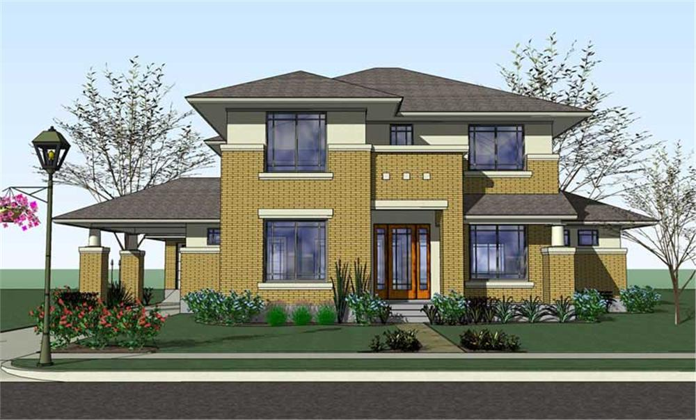 Front elevation of Traditional home (ThePlanCollection: House Plan #117-1057)