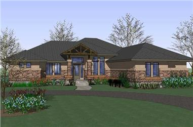3-Bedroom, 2813 Sq Ft Prairie Home Plan - 117-1078 - Main Exterior