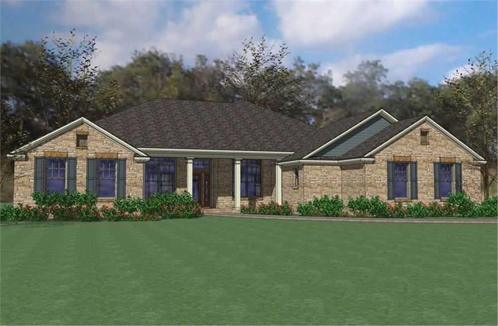 Front elevation of Ranch home (ThePlanCollection: House Plan #117-1084)