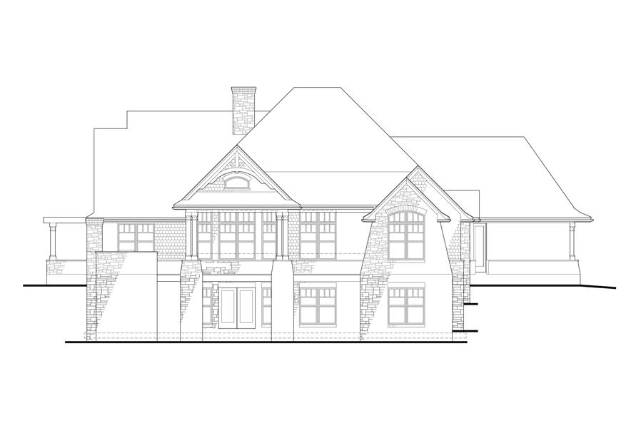 Home Plan Rear Elevation of this 3-Bedroom,2091 Sq Ft Plan -117-1092
