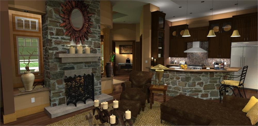 117-1092: Home Plan Rendering-Living Room
