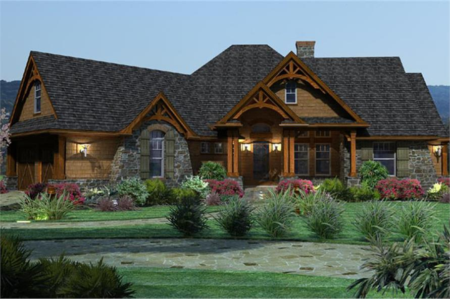 117 1092 3d color rendering of ranch home plan theplancollection house plan 117 1092 - Ranch House