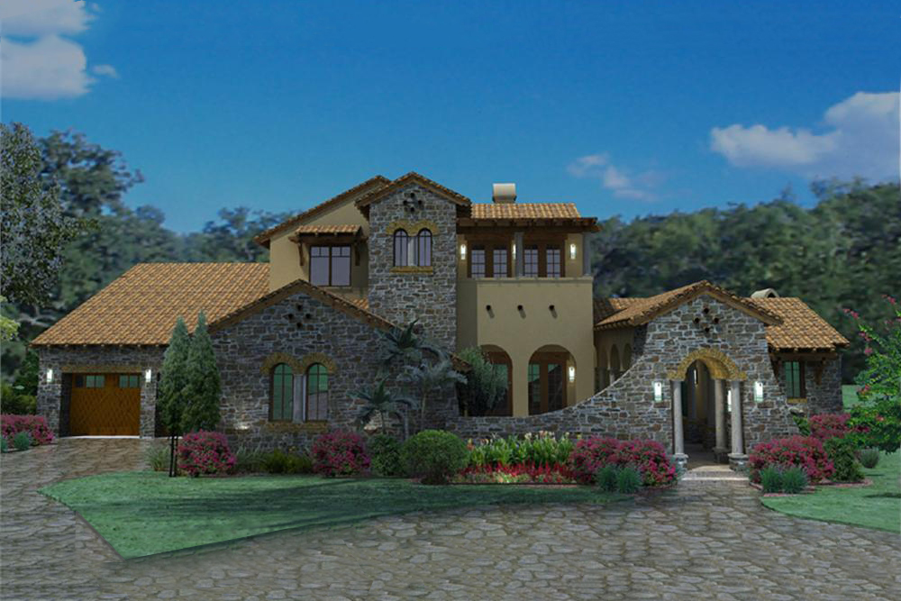 4 bedrm 3691 sq ft luxury house plan 117 1093 for Luxury tuscan homes