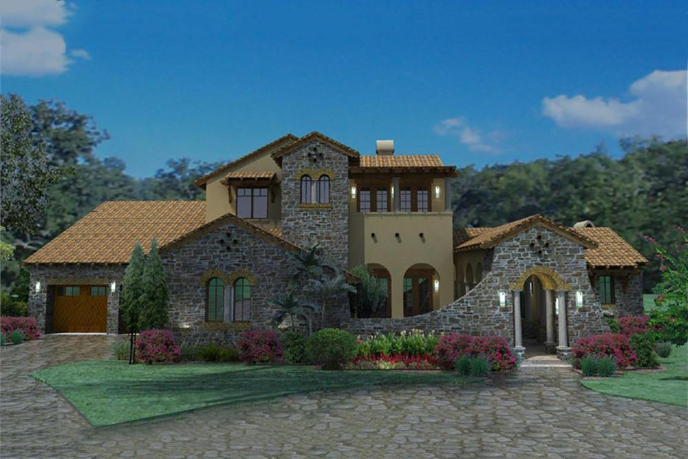 Photo-realistic rendering of Luxury home plan (ThePlanCollection: House Plan #117-1093)