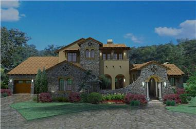 4-Bedroom, 3691 Sq Ft Luxury House Plan - 117-1093 - Front Exterior