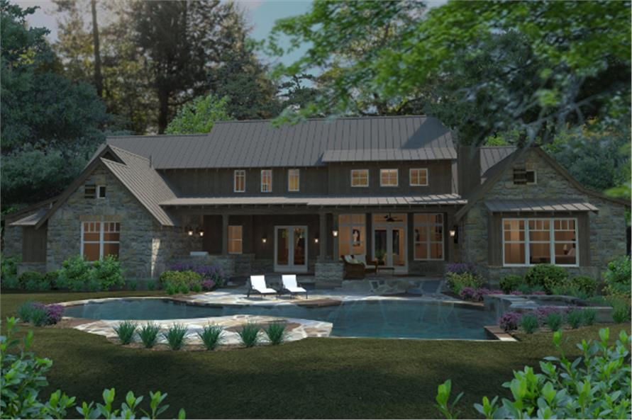 Home Plan Rear Elevation of this 4-Bedroom,4164 Sq Ft Plan -117-1096