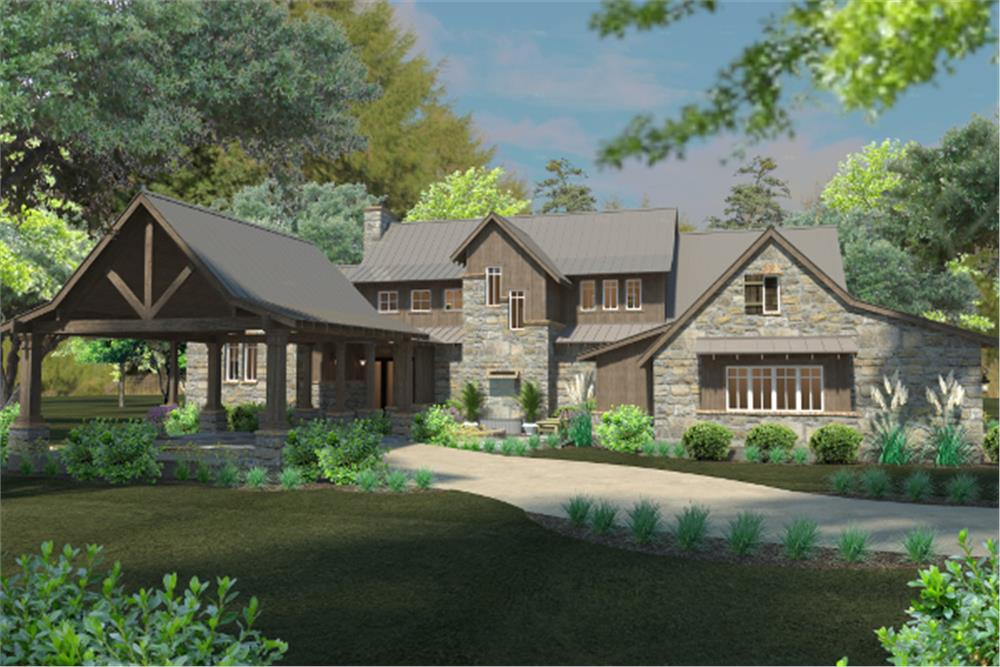 Front elevation of Country home (ThePlanCollection: House Plan #117-1096)