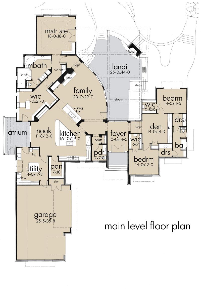 Florida Style House Plan #117-1097: 3 Bedrm, 3638 Sq Ft