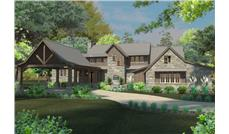 Front elevation of Farmhouse home (ThePlanCollection: House Plan #117-1098)