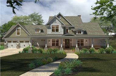 Front elevation of Southern home (ThePlanCollection: House Plan #117-1100)