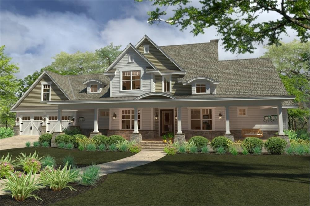 Front elevation of Southern Farmhouse home (ThePlanCollection: House Plan #117-1100)