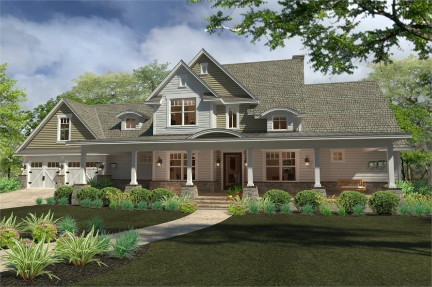 4-Bedroom, 2414 Sq Ft Southern Farmhouse Plan - 117-1100 - Front Exterior
