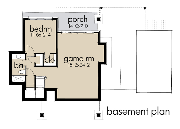 Contemporary cottage house plan 117 1101 2 bedrm 985 sq ft home theplancollection - House plans one story with basement collection ...