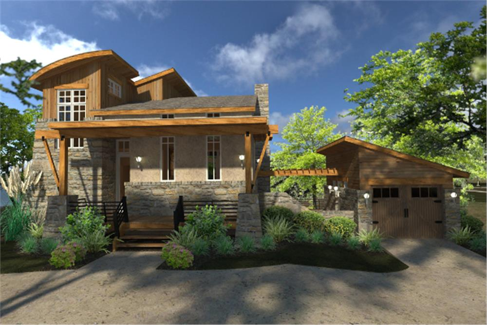 Front picture of this contemporary cottage (ThePlanCollection: House Plan #117-1101)