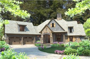 Front elevation of Cottage home plan (ThePlanCollection: House Plan #117-1102)