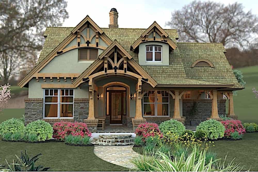 Bungalow style home (ThePlanCollection: Plan #117-1104)