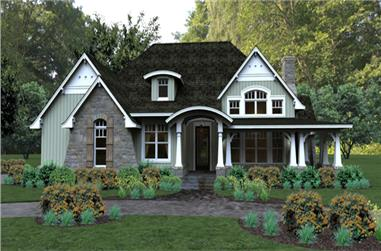 Front elevation of Bungalow home (ThePlanCollection: House Plan #117-1106)