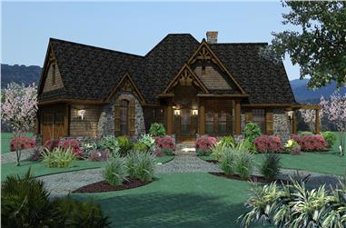 Front elevation of Ranch home (ThePlanCollection: House Plan #117-1107)