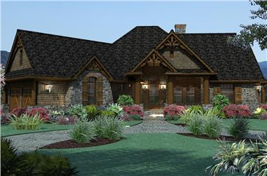 Color rendering of Ranch home plan (ThePlanCollection: House Plan #117-1107)