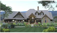 Front elevation of Ranch home (ThePlanCollection: House Plan #117-1108)