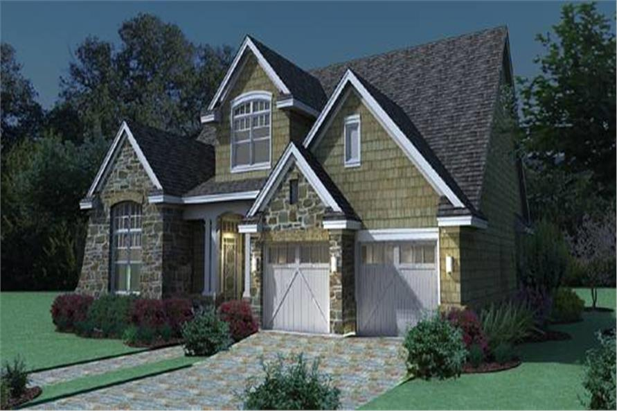 117-1111: Home Plan Rendering-Home at Night