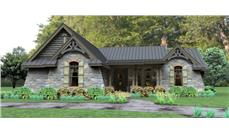 Front elevation of Ranch home (ThePlanCollection: House Plan #117-1112)