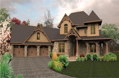 Front elevation of Ranch home (ThePlanCollection: House Plan #117-1115)
