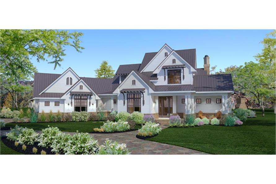 Home Plan Front Elevation of this 3-Bedroom,2984 Sq Ft Plan -117-1117