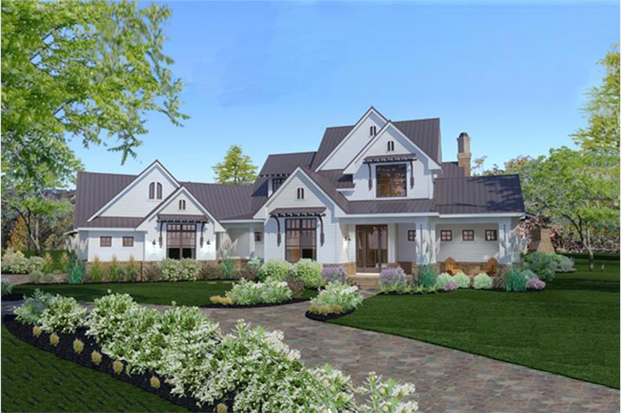 3-Bedroom, 2984 Sq Ft Transitional Home Plan - 117-1117 - Main Exterior