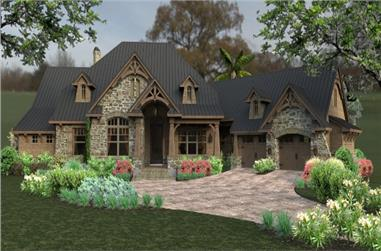 Front elevation of Ranch home (ThePlanCollection: House Plan #117-1119)