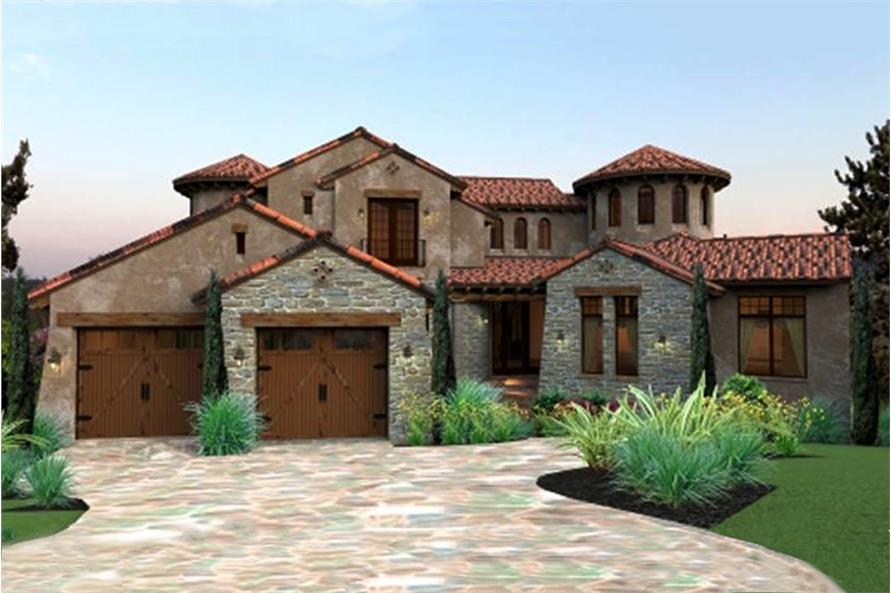 Color photo-realistic rendering of Mediterranean home plan (ThePlanCollection: House Plan #117-1122)