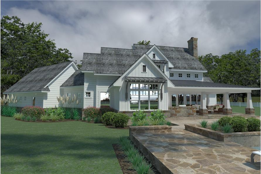 Home Plan Rear Elevation of this 3-Bedroom,2396 Sq Ft Plan -117-1124