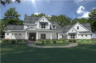 Photo-realistic rendering of Farmhouse home plan (ThePlanCollection: House Plan #117-1124)