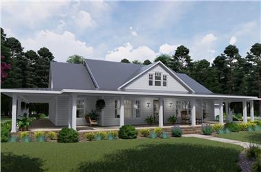 Photo-realistic color rendering of Country home plan (ThePlanCollection: House Plan #117-1127)