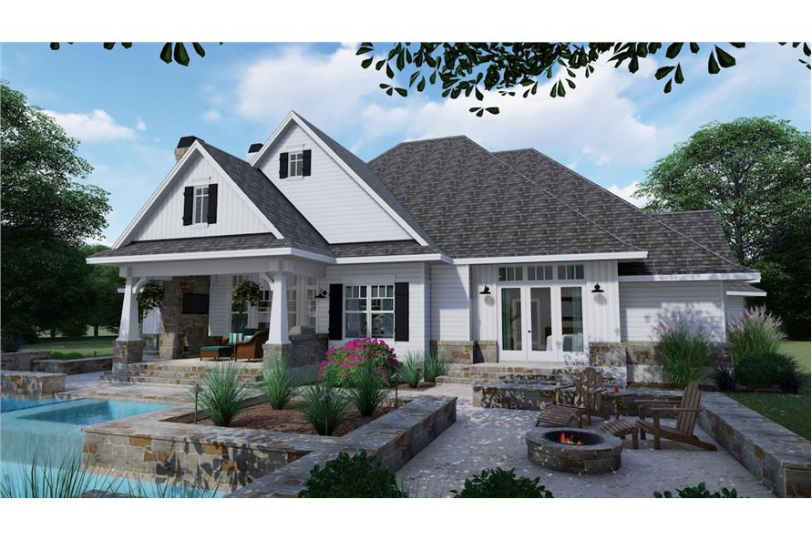 Home Plan Rear Elevation of this 3-Bedroom,2504 Sq Ft Plan -117-1128