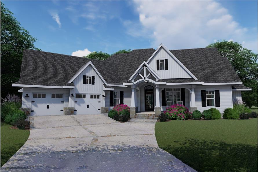 3-Bedroom, 2504 Sq Ft Country House Plan - 117-1128 - Front Exterior