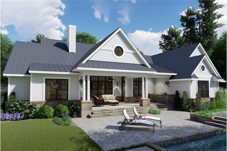 Home Plan Rear Elevation of this 3-Bedroom,2787 Sq Ft Plan -117-1132