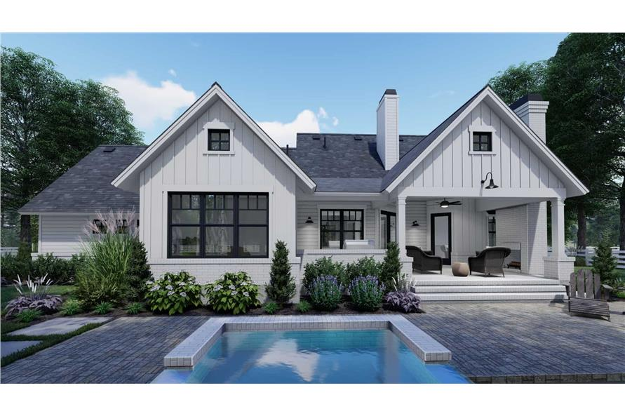 Rear View of this 3-Bedroom,1486 Sq Ft Plan -117-1140