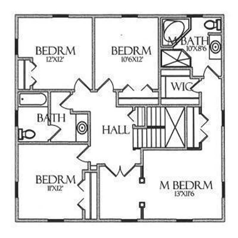 House Plan CR-501 Second Floor Plan