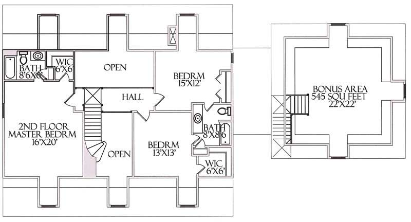 House Plan CR-516 Second Floor Plan