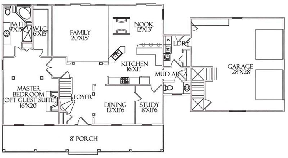 House Plan CR-516 Main Floor Plan