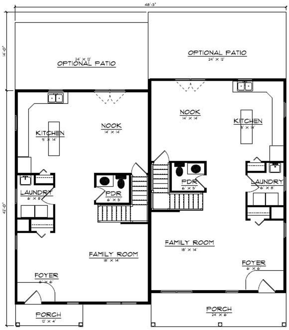 Floor Plan First Story for multi-unit house plans # CR-606