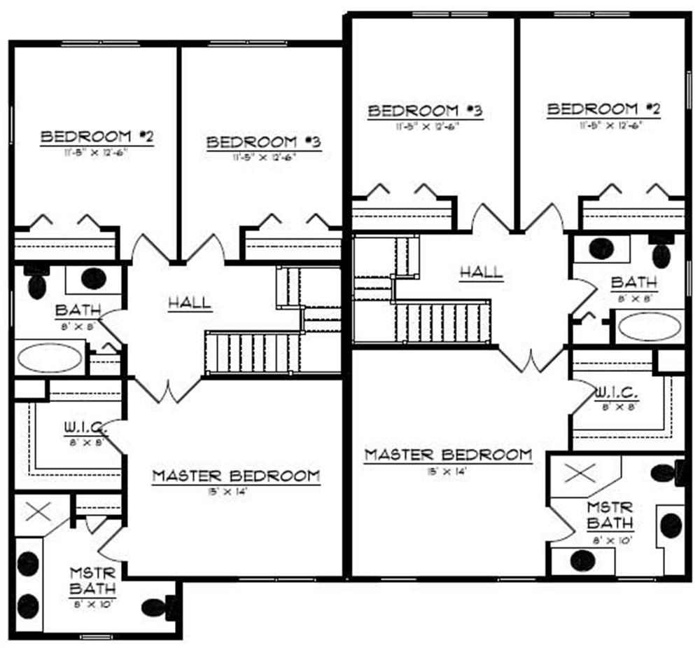 Floor Plan Second Story for multi-unit home plans # CR-606