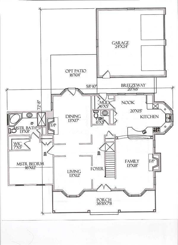 Floor Plan First Story for Country House Plans # CR-509-B