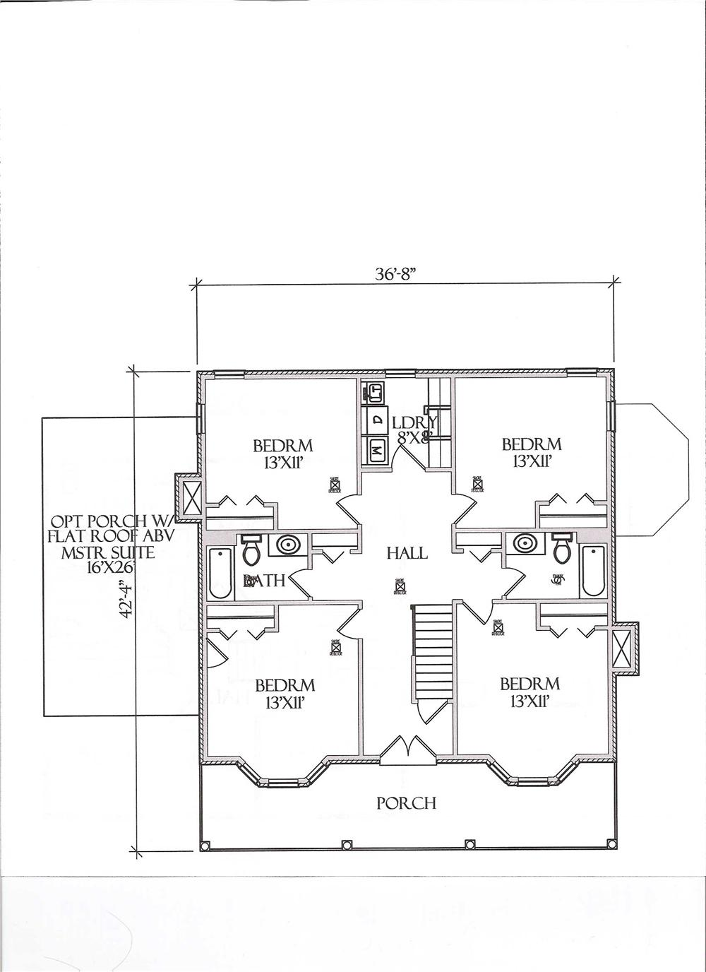 Floor Plan Second Story for Country House Plans # CR-509-B