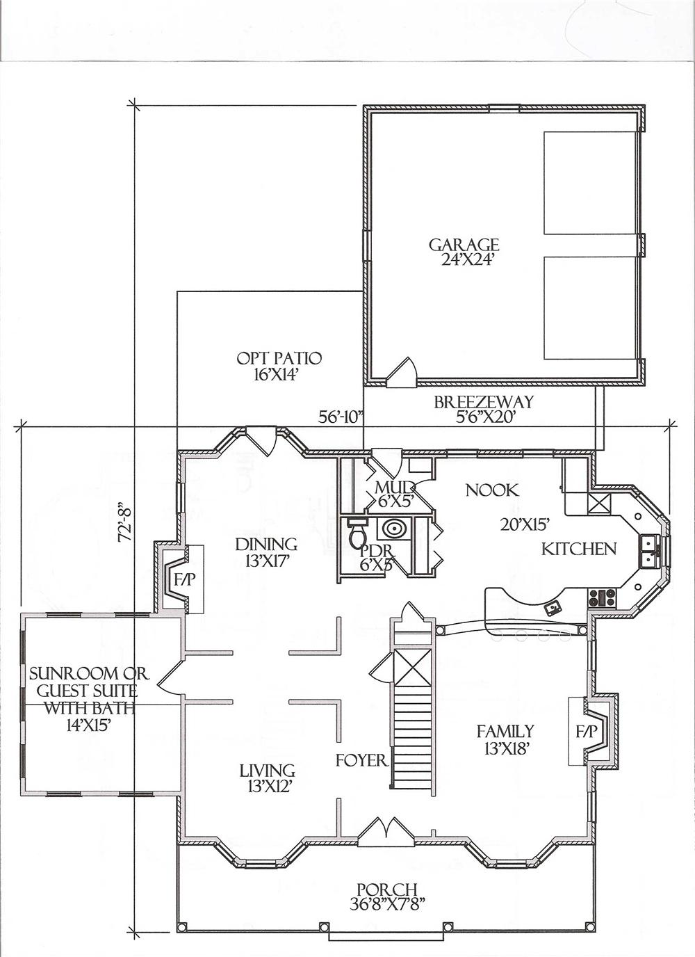 Floor Plan First Story for Country Home Plans # CR-509-A